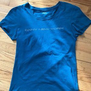 EUC Turquoise DKNY Rhinestone Logo Tee sz Med